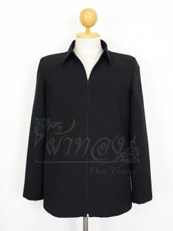 เสื้อสูทซิปผ้าโอซาก้าสีดำแขนยาว ไซส์ L