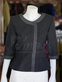 เสื้อผ้าฝ้ายสุโขทัยสีดำแต่งปักไหม ไซส์ 2XL