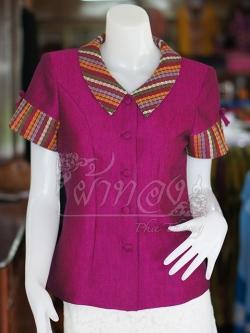 เสื้อผ้าฝ้ายสุโขทัยแต่งผ้ามุกสายรุ้ง อัดผ้ากาว ไซส์ M