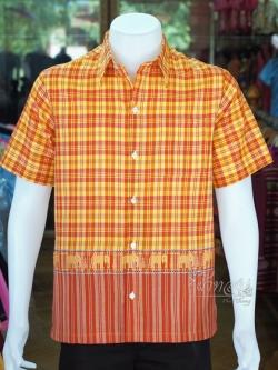 เสื้อเชิ้ตผ้าฝ้ายทอลายช้าง ไม่อัดผ้ากาว ไซส์ L