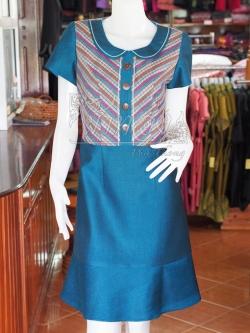 เดรสผ้าฝ้ายสุโขทัยแต่งผ้ามุกสายรุ้ง ไซส์ S