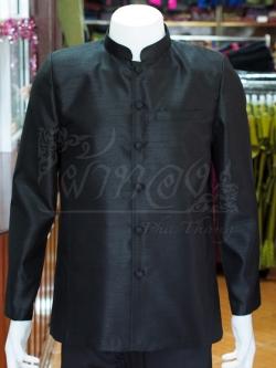 เสื้อสูทไหมแพรทองคอพระราชทานแขนยาว สีดำ ไซส์ L