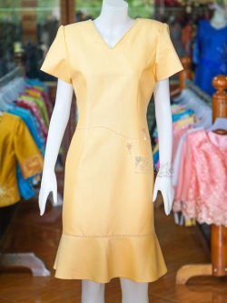 เดรสผ้าฝ้ายสุโขทัย สีเหลือง ไซส์ L