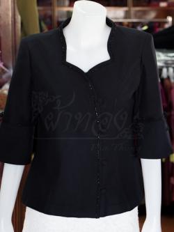 เสื้อผ้าฝ้ายสุโขทัยสีดำ ปักมุก ไซส์ 2XL