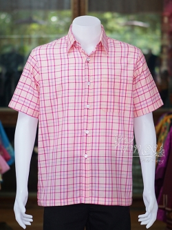 เสื้อเชิ้ตผ้าทอลายสก็อต ไม่อัดผ้ากาว สีชมพู ไซส์ L