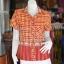 เสื้อผ้าทอลายช้างปกเชิ้ต สีแดงเหลือง ไซส์ 2XL thumbnail 1