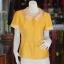เสื้อผ้าฝ้ายสุโขทัยสีเหลืองแต่งผ้าลายหมากรุก ไม่อัดผ้ากาว ไซส์ 2XL thumbnail 1
