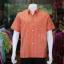 เสื้อเชิ้ตผ้าทอลายสก็อต ไม่อัดผ้ากาว สีส้ม ไซส์ 2XL thumbnail 1