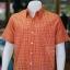 เสื้อเชิ้ตผ้าทอลายสก็อต ไม่อัดผ้ากาว สีส้ม ไซส์ 2XL thumbnail 2