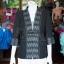 เสื้อคลุมผ้าทอลายลูกแก้วสีดำแต่งผ้าลายมัดหมี่สุโขทัย ไซส์ XL thumbnail 1