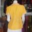 เสื้อผ้าฝ้ายสุโขทัยสีเหลืองแต่งผ้าลายหมากรุก ไม่อัดผ้ากาว ไซส์ 2XL thumbnail 3