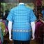 เสื้อเชิ้ตผ้าฝ้ายทอลายช้าง ไม่อัดผ้ากาว สีฟ้าเข้ม-ฟ้าอ่อน ไซส์ S thumbnail 3