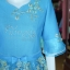ชุดเสื้อกระโปรงผ้าฝ้ายสุโขทัยแต่งผ้าลูกไม้สีฟ้า ไซส์ S thumbnail 2