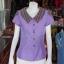 เสื้อผ้าฝ้ายสุโขทัยสีม่วงแต่งผ้ามุกสายรุ้ง ไม่อัดผ้ากาว ไซส์ L thumbnail 1