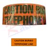 """เทปฝังใต้ดิน สีส้ม Print """"CAUTION BURIED TELEPHONE LINE BELOW """" กว้าง 7.5 ซม.(3นิ้ว) ยาว (305 เมตร)"""