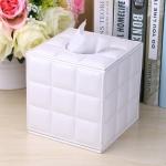กล่องทิชชู่ หนัง pu สีขาว ลาย grid หนังแกะ ใส่กระดาษทิชชู่ ขนาด 13cm x 13cm x 13cm