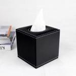 กล่องทิชชู่ หนัง pu สีดำ ใส่กระดาษทิชชู่ ขนาด 13cm x 13cm x 13cm