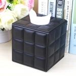 กล่องทิชชู่ หนัง pu สีดำ ลาย grid หนังแกะ ใส่กระดาษทิชชู่ ขนาด 13cm x 13cm x 13cm