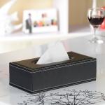 กล่องทิชชู่ กล่องหนัง กล่องทิชชู่โรงแรม สี ดำ ขนาด 25.5cm x 12.5cm x 7.5cm