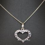 สร้อยเงินแท้ 925 พร้อมจี้รูปหัวใจบอกรัก ชุบโรเดียม