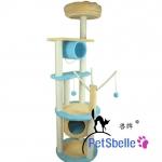 MU0117 คอนโดแมวห้าชั้น ต้นไม้แมว กระบะนอน ของเล่นแขวน อุโมงค์และบ้านอุโมงค์ สีฟ้า สูง 175 cm