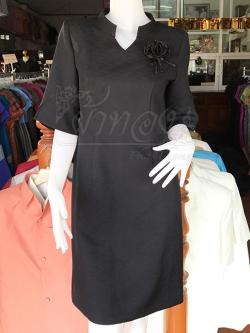 เดรสผ้าฝ้ายผสม สีดำ ไซส์ XL