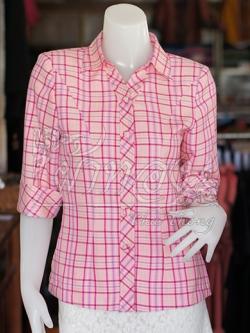 เสื้อผ้าฝ้ายทอลายสก็อต ปกเชิ้ตคอวี ไซส์ 3XL