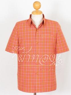 เสื้อสูทผ้าฝ้ายลายสก็อต สีส้มอิฐ ไซส์ L