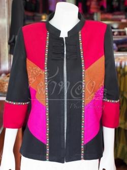 เสื้อคลุมผ้าฝ้ายสุโขทัยคอจีน ไซส์ 2XL
