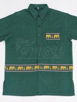 เสื้อเชิ้ตผ้าฝ้ายทอลายช้าง ไม่อัดผ้ากาว ไซส์ 2XL