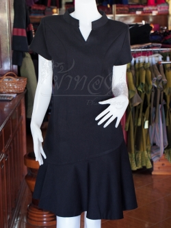 เดรสผ้าฝ้ายสีดำ คอจีน ไซส์ L