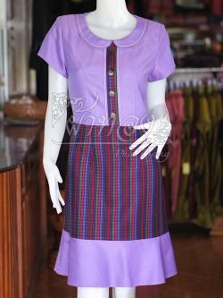 เดรสผ้าฝ้ายสุโขทัยแต่งผ้ามักสายรุ้ง ไซส์ M