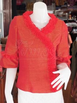เสื้อผ้าฝ้ายสุโขทัยแต่งระบายผ้าแก้ว ไซส์ 2XL