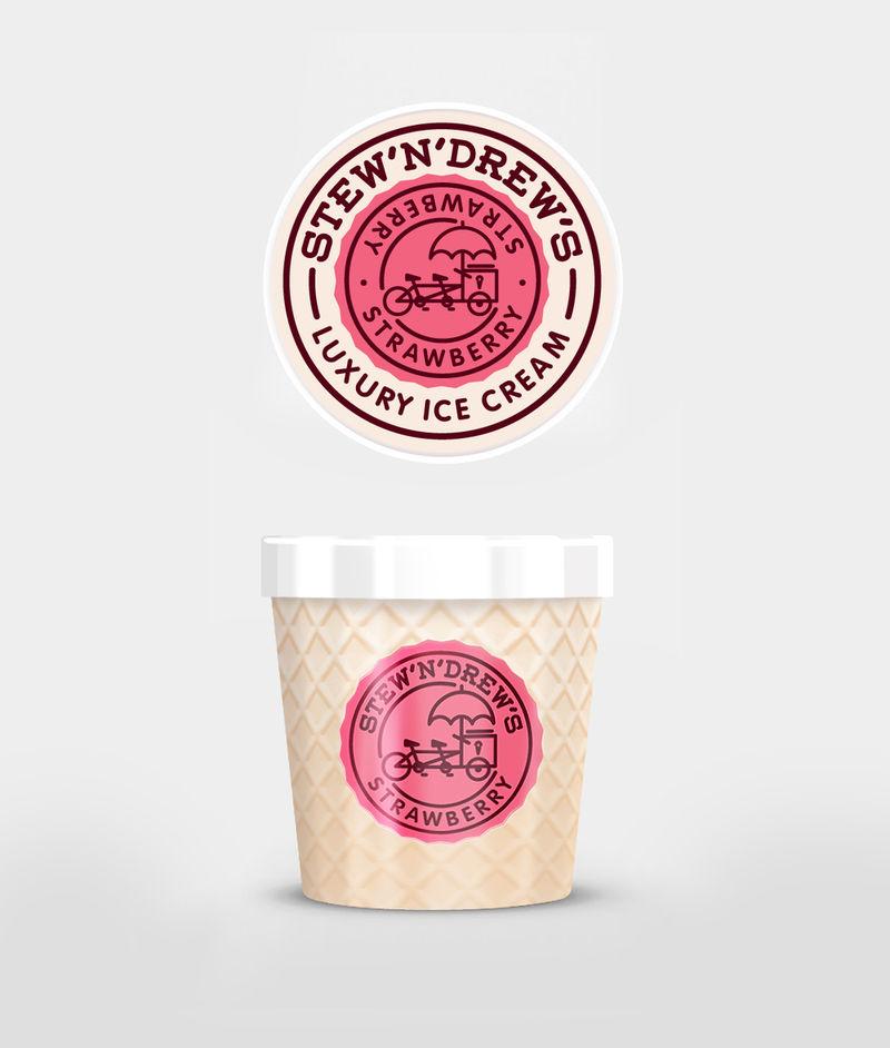 ไอเดียสำหรับการพิมพ์ สติ๊กเกอร์ฉลากสินค้า // สไตล์การออกแบบ ดีไซน์แบบการใช้สีสันที่สดุดตา น่าสนใจ ฉลากไว้ใช้สำหรับ แปะกับถ้วยไอศกรีม