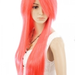 วิกผมยาว สไลด์เป็นทรงสวย เหมาะสำหรับสาวกคอสเพล (สีชมพูประกายแดง)