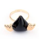 แหวนเกาหลีหัวใจติดปีกมี (สีดำ)