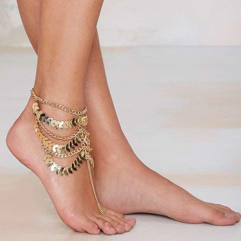 สร้อยข้อเท้า Multi-layer foot chain tassel Queen