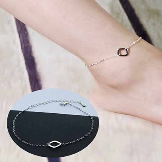 สร้อยข้อเท้าเกาหลีแบบโซ่รูปสี่เหลี่ยม