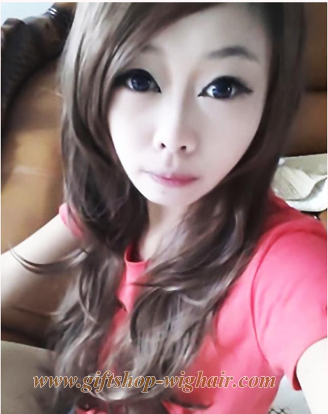 วิกผมทนความร้อนเกาหลี(สีดำประกายขาว)
