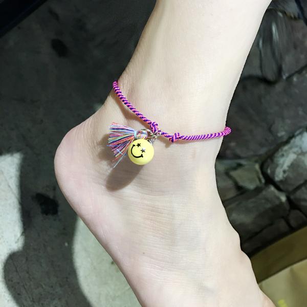 สร้อยข้อเท้า เชือกสายรุ้งแฟนตาซีรูปหน้ายิ้มสีเหลือง แฟชั่น