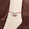 สร้อยข้อเท้า ถักเชือกสตริงสีแดงระฆังทิเบต