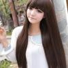 วิกผมยาวตรงทนความร้อนเกาหลี(สีน้ำตาลอ่อน)
